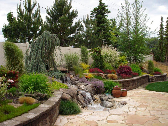 Amazing-Garden-Design-with-small-waterfalls