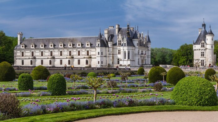 Chenonceau castle and its Diane de Poitiers garden.